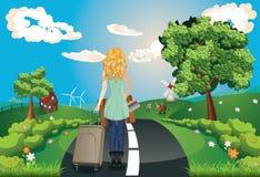 Lato krajobraz z dziewczyną ilustracji
