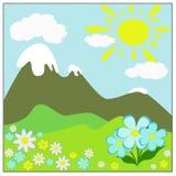 Lato krajobraz z górami i kwiatami Obraz Royalty Free