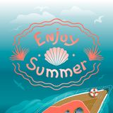 Lato krajobraz z inskrypcją Jachtu żeglowanie na fala Żywy koral royalty ilustracja