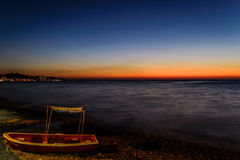 Lato linii brzegowej Grodzki zmierzch Zdjęcie Royalty Free