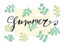 Lato listów ręka rysująca karta Zdjęcie Stock