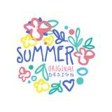 Lato loga oryginalny projekt, lato sezonu etykietki kolorowa ręka rysująca wektorowa ilustracja Zdjęcie Royalty Free