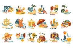 Lato loga szablonu partyjny set, plażowy wakacje, wakacje wektorowe ilustracje na białym tle Zdjęcia Stock