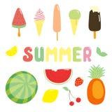 Lato majchery lody i owoc royalty ilustracja