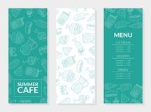 Lato menu Karmowy szablon, Główni naczynia, lody, desery, napoje, restauracja lub Cukierniany projekta elementu wektor, royalty ilustracja