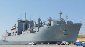 Lato militare Norfolk la Virginia del pilastro della nave da guerra Fotografia Stock