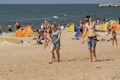 Lato na plaży w Palanga Zdjęcie Stock