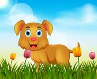 Lato natury tło z śliczną psią ilustracją ilustracja wektor
