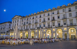 Lato noc w mieście - piazza Vittorio Veneto Fotografia Royalty Free