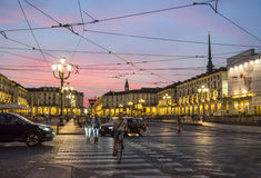 Lato noc w mieście - piazza Vittorio Veneto Obraz Stock