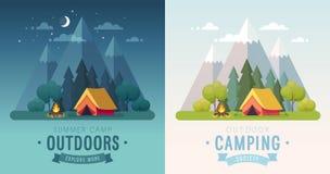 Lato nocy i ranku grafiki Campingowi plakaty Sztandary z górami, drzewami, namiotem i ogniskiem, ilustracja wektor