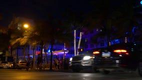 Lato nocy Miami plaży oceanu przejażdżki klubu sławny przyjęcie 4k Florida usa zbiory