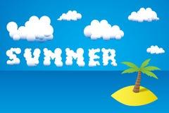 Lato obłoczny tekst - ilustracja tropikalna wyspa z drzewkiem palmowym Zdjęcia Stock