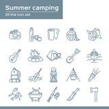 Lato obozuje 20 kreskowych ikon ustawiających Wektorowa ikony grafika dla podróży turystyki wakacje: termos, kamera, kolba, mapa, ilustracji