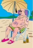 Lato odpoczynek na rzece Mężczyzna jest odpoczynkowy Royalty Ilustracja