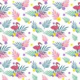 Lato opuszcza bezszwowego wzór z flamingiem i kwitnie Obraz Stock