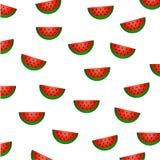 Lato owoc wzór: arbuzów plasterki z czerwoną brają, zieloną łupą i czarnymi ziarnami, rozpraszają chaotically na białym tle Obraz Stock