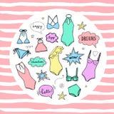 Lato pływaccy kostiumy inkasowi Swimsuit nakreślenie ilustracja wektor