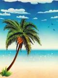 Lato palma i plaża royalty ilustracja