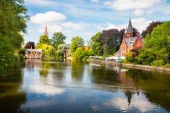 Lato pejzaż miejski Brugge obraz stock