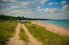 Lato perfetto di Mar Nero di vista della spiaggia Fotografie Stock