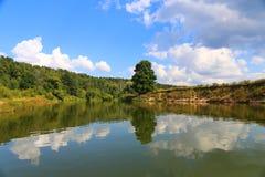 Lato piękny krajobraz Drzewo i niebieskie niebo odbijamy w wodzie obrazy stock