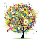 lato piękny kwiecisty drzewo ilustracja wektor