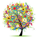 lato piękny kwiecisty drzewo ilustracji