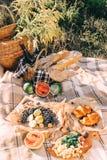 Lato pinkin przy zmierzchem na szkockiej kraty, jedzenia i napoju poczęcia styl życia pogodnej pogodzie, obraz royalty free