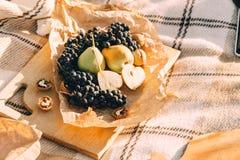 Lato pinkin przy zmierzchem na szkockiej kraty, jedzenia i napoju poczęcia styl życia pogodnej pogodzie, obrazy stock