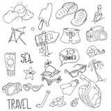 Lato plaży ręka rysujący wektorowi przedmioty i symbole ilustracji