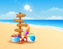 Lato plaża z drewnianą strzała ilustracja wektor