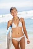 Lato plażowa kobieta ma zabawa portret Zdjęcia Stock