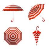 Lato plażowy czerwony parasol odizolowywający na białym tle ilustracja 3 d ilustracja wektor