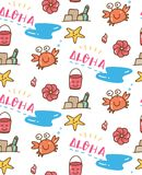 Lato plaży materiału doodle bezszwowy wzór ilustracji