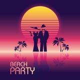 Lato plaży przyjęcia wektorowy sztandar lub ulotka szablon 80s łuny retro neonowy styl Elegancki, elegancki mężczyzna w kostiumu, ilustracja wektor