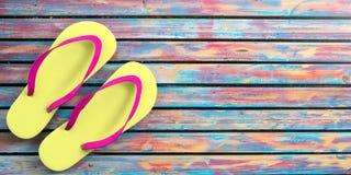 Lato plaży wakacje Trzepnięcie klapy na kolorowym drewnianym tle, odgórny widok, kopii przestrzeń ilustracja 3 d royalty ilustracja