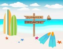 Lato plażowe wakacyjne ilustracje Zdjęcie Royalty Free