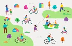 Lato plenerowa scena z aktywnym rodzinnym wakacje, parkowymi aktywność ilustracyjnymi z dzieciakami, parami i rodzinami, royalty ilustracja