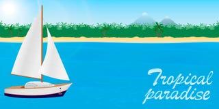 Lato podróż tropikalny raju sztandar lub desktop tapeta Żaglówka na tropikalnym wyspy tle z literowaniem ilustracji