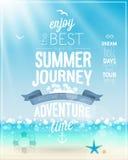 Lato podróży plakat z tropikalnym tłem Zdjęcia Stock