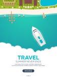 Lato podróży sztandar zbliżenie czerwonej liny podróż morska młodzi dorośli Cześć lato rejs do raju Plaża, morze i statek, ilustracja wektor