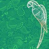 Lato podróży tło z złocistą papugą royalty ilustracja