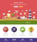 Lato podróży strony internetowej chodnikowa sztandar z webdesign elementami Obraz Royalty Free