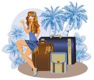 Lato podróży dziewczyna z wineglass Zdjęcia Royalty Free