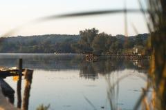 Lato pogodny ranek na stawie w wiosce Zdjęcia Stock