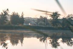 Lato pogodny ranek na stawie w wiosce Zdjęcie Stock