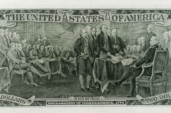 Lato posteriore della banconota da due dollari Fotografia Stock Libera da Diritti