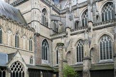 Lato posteriore gotico del primo piano della cattedrale di Ypres Fotografia Stock Libera da Diritti