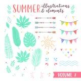 Lato projekta ilustracje z owoc, tropikalnego i plażowego elem, royalty ilustracja